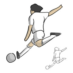 soccer player shooting vector illustration sketch doodle hand drawn with black lines isolated on white background