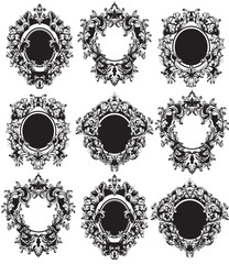 Vintage Frames set Vector. Classic rich ornamented carved decors. Baroque sophisticated intricate designs