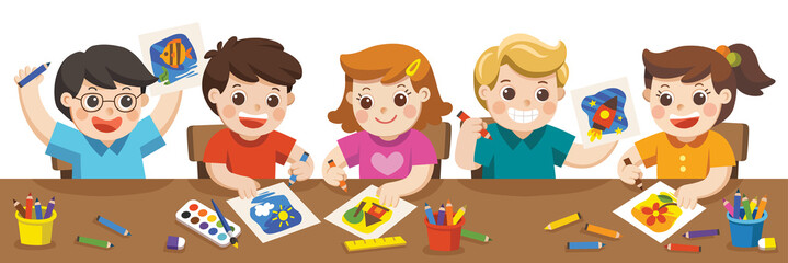 Happy creative kids playing, painting,sketching in art class. Education and Enjoyment Concept. Back to school.