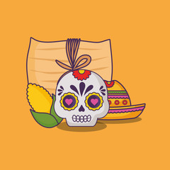 Mexican tamales with sugar skull and corn  over yellow background, colorful design. vector illustration