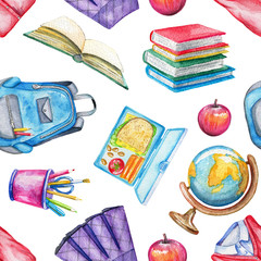 Seamless pattern with lunch box, apple, school uniform, globe, schoolbag, stationery and books on white background. Watercolor hand drawn illustration