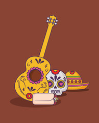 mexican culture design with guitar and related icons over brown background, colorful design. vector illustration