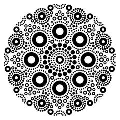 Mandala black and white vector art, Australian dot painting decorative design, Aboriginal folk art bohemian style