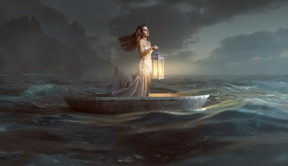 Frau mit Laterne in Ruderboot