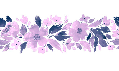 Seamless watercolor floral border pattern in purple