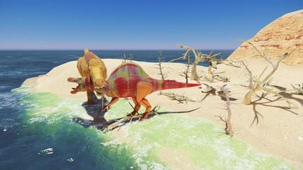 3D rendering scene of the giant dinosaur
