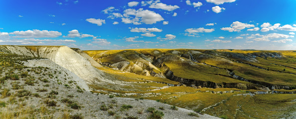 Panorama of the Cretaceous Mountains of the Donskoy Nature Park in the Volgograd Region. Russia