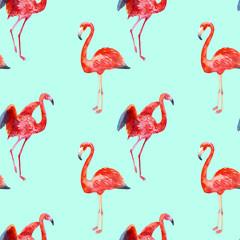 Tuinposter Flamingo Watercolor seamless flamingos