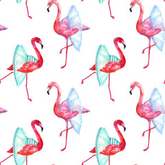Canvas Prints Flamingo Flamingos ballet dancers, seamless pattern