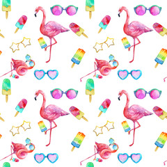 Summer flamingo in glasses with ice cream, seamless pattern