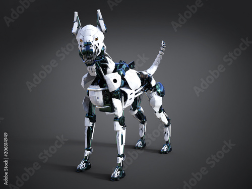 3D rendering of a futuristic robot dog