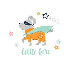 Vector illustration with Superhero dog