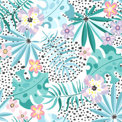 Abstract exotic plants seamless pattern
