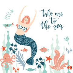 Background with a mermaid and text