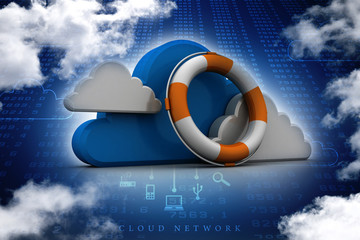 3d illustration Cloud with shield