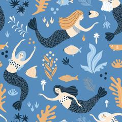 Beautiful seamless pattern with mermaid