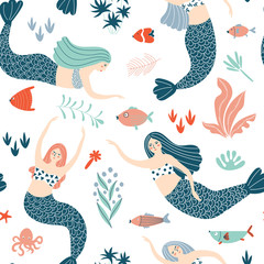 Seamless pattern with stylish mermaids