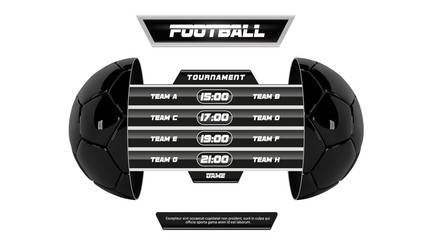Vector of soccer league with team competition and scoreboard isolated on white background. Football White Banner With 3d Ball and Scoreboard. Soccer game match. Half football ball