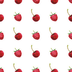 Hand painted minimalist seamless pattern with watercolor cherry and raspberry isolated on white background