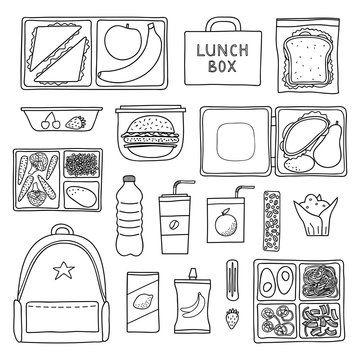 Set of hand drawn lunch boxes.