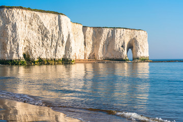 View of white chalk cliffs and beach in Kingsgate Bay, Margate, East Kent, UK