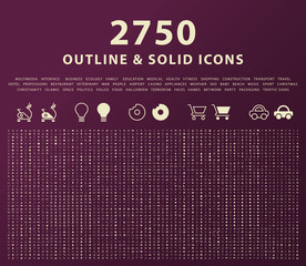 Set of 2750 Outline and Solid Icons on Dark Background . Vector Isolated Elements