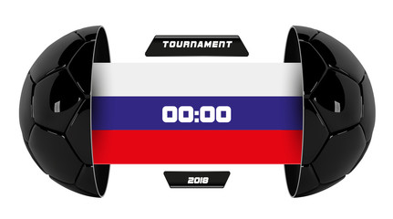 Vector of soccer league with team competition and scoreboard isolated on white background. Football White Banner With 3d Ball and Scoreboard with Russian flag. Soccer game match. Half football ball
