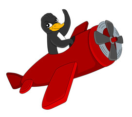Cute flying penguin cartoon