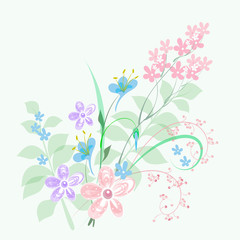 Vector drawing from the hand of a bouquet of decorative flowers, gentle pastel coloring, for the design of greeting card, wallpaper, background