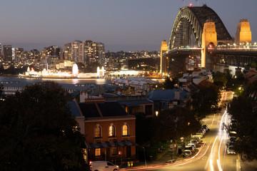 Night view of Sydney Harbour Bridge