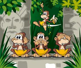 Affen im Urwald, Tempelruine, Banane, Cartoon