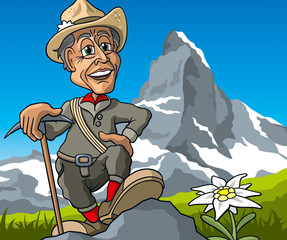 Bergsteiger am Matterhorn, Cartoon