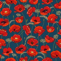 Modèle sans couture avec des fleurs et des bourgeons de pavot rouge sur l& 39 obscurité. bourgeons rouges brillants et juteux