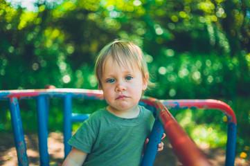Little boy on merry-go-round