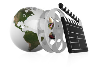 earth globe and film illustration