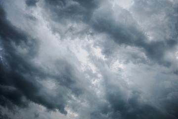 Dark clouds across the sky before heavy rain