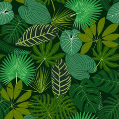 Green Tropical leaves, night jungle. Seamless, detailed, botanical pattern. Vector background.