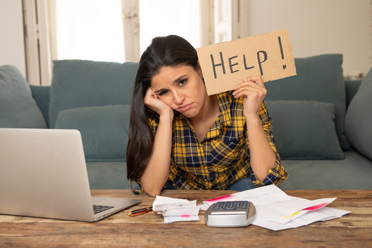 Attractive desperate woman asking for help in managing expenses. Cost living and bill problems