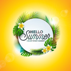 Vector Hello Summer Holiday typography illustration with tropical plants and flower on yellow background. Design template for banner, flyer, invitation, brochure, poster or greeting card.