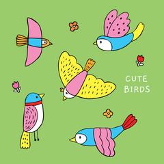 Cartoon cute colorful birds vector.
