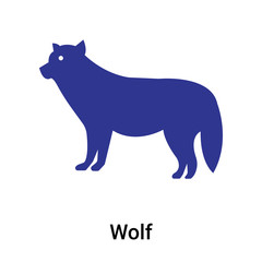 Wolf icon vector sign and symbol isolated on white background