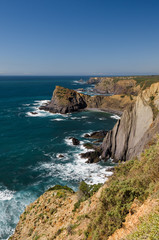 View of the Atlantic Ocean at the  Vicentine Coast Natural Park in Algarve, Portugal