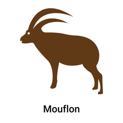 Mouflon icon vector sign and symbol isolated on white background