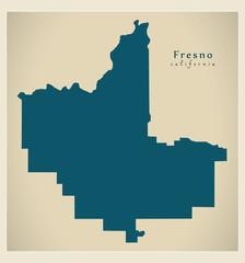Modern City Map - Fresno California city of the USA