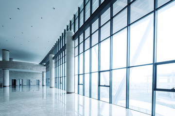 modern business hall interior with glass wall