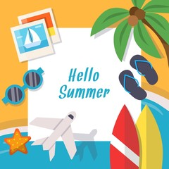 Background pictures of summer theme. Vector illustration