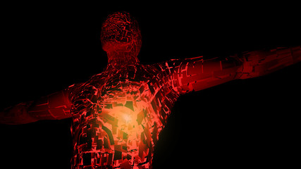 3d abstract man in t-pose with cracked skin and light inside