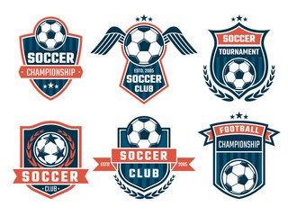 Vector emblem of football theme. Sport logos design