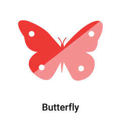 Butterfly icon vector sign and symbol isolated on white background