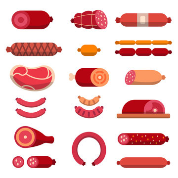 Beef, mariscos, marbled meat and other different illustrations for butcher shop. Vector pictures isolate
